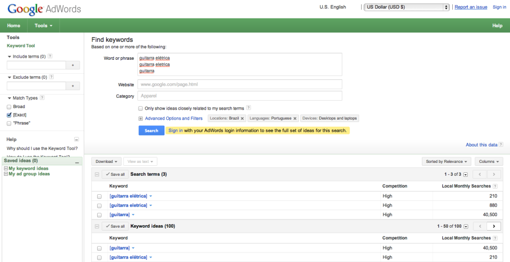 Google AdWords_ Keyword Tool